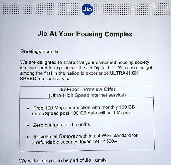 Jio Giga Fiber Online Booking
