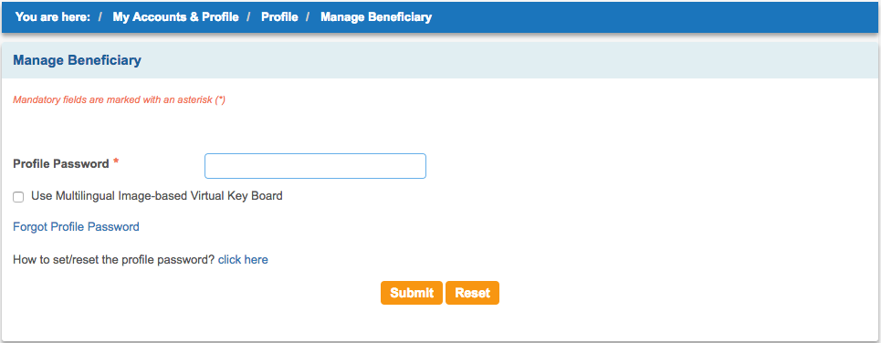 Add Beneficiary in SBI Net Banking